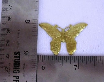 Set of 4 Raw Brass Butterfly Metal Stampings,  Sal 4615