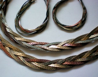 Five Strand Braided Metal Necklace and Pierced Earrings -3390