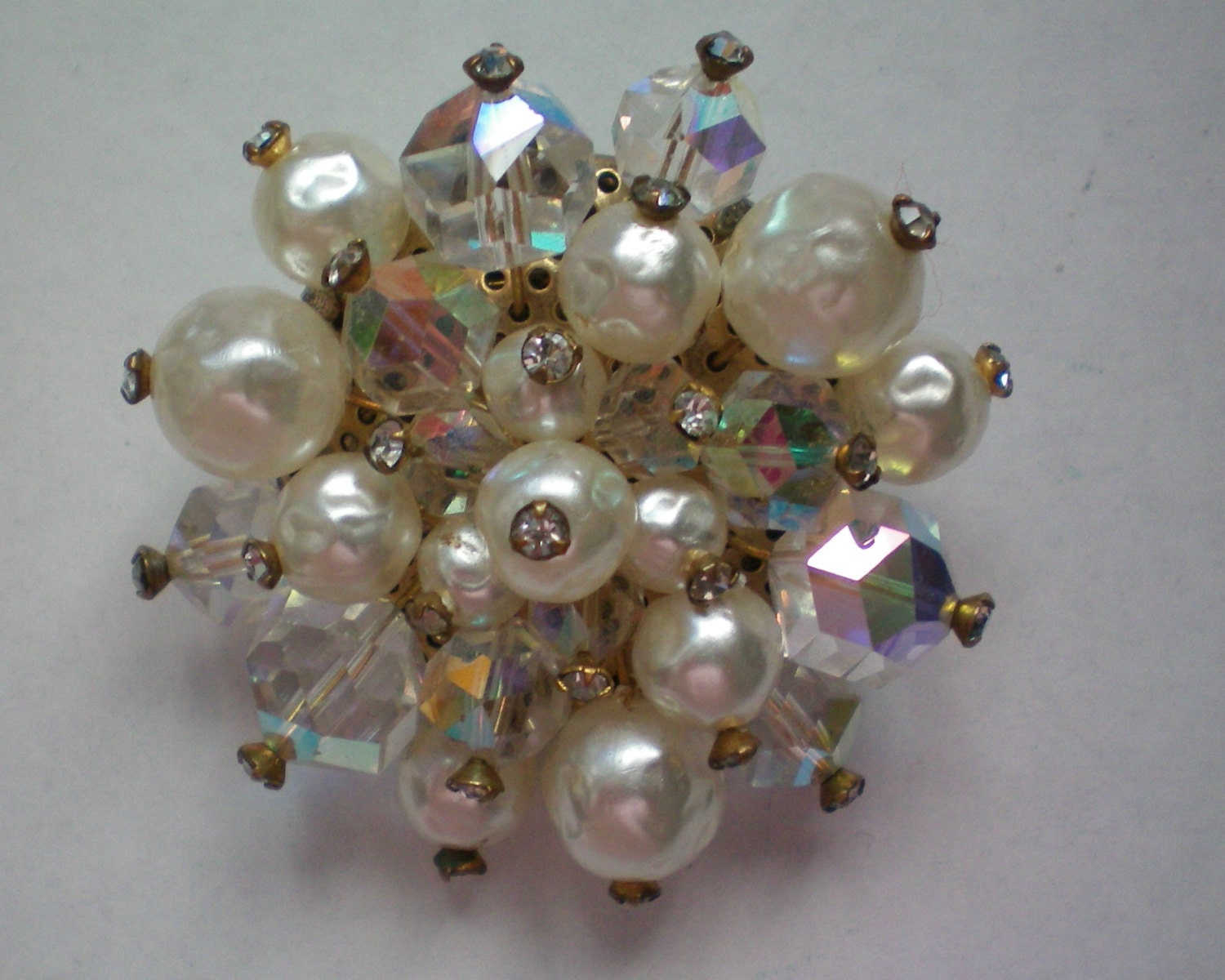Vintage Brooch: Blister Faux Pearls and AB Crystals