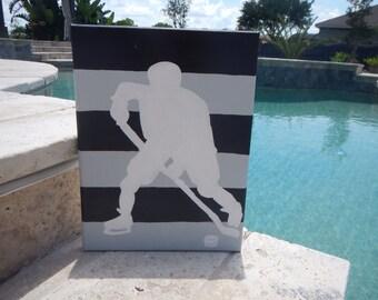 "9""x12"" Hockey Player Canvas Art"