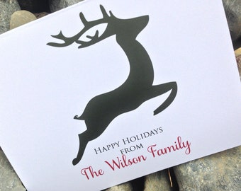 Christmas Cards, Holiday Card Set, Personalized Christmas Cards - Holiday Reindeer