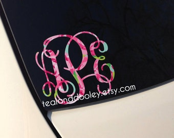 Lilly Pulitzer Inspired Monogram Vinyl Decal Sticker NEWEST - Monogram decal on car