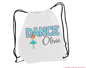 Custom Personalized Girls Dance Drawstring Backpack Tote Bag Chevron Stripe - Tap Ballet Jazz Camp Laundry Dancer