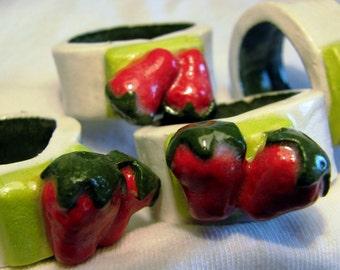 Set of 4 Hand Craftes Stoneware Strawberry Napkin Rings.