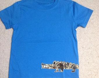 Boys Blue Appliqué Crocodile T-shirt 4-5 years