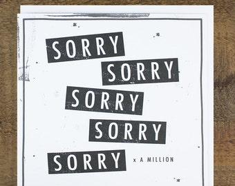 Funny Sorry Card - Regret Card - Wedding Reply Card - Condolences Card- Apology Card- Sorry x A Million