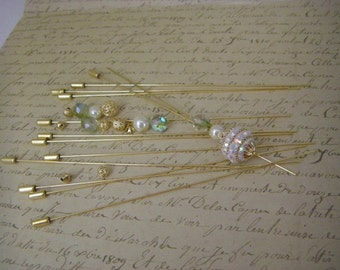"""6"""" gold tone hat pin (package of 12) unopened  brand new made by Darice   for crafting"""