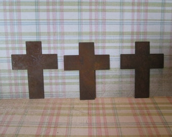 Rusty tin primitive crosses 2.5 inches tall and 2 inches wide  - 10