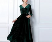 Emerald Green Velvet Dress Long Party Formal Evening Maxi Dress Cocktail Gown Long Sleeved Maternity Dress Dinner Dress