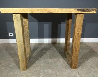 Custom Made Reclaimed Wood Kitchen Island/ Bar table - W/ 4x4 U-Shaped Wooden Leg Base - Raw (No Finish) - Fast Shipping
