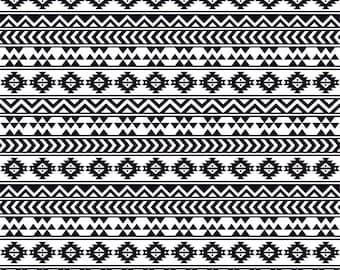 Black and white tribal pattern craft  vinyl sheet - HTV or Adhesive Vinyl -  Aztec Peruvian pattern HTV907