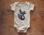 Natural 100% Organic Cotton BOHO Raccoon Screen Printed Infant One-piece Bodysuit