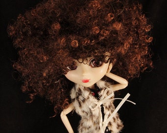 Dark BROWN Short Afro Wig for Pullip Dolls 1/3 Head size