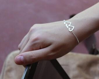 Two hearts bracelet / BFF bracelet / sterling silver minimalist jewelry
