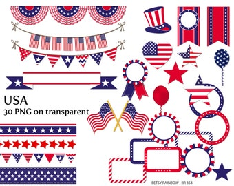 USA cliparts, digital frames, digital borders, bunting clipart, July 4th, Independence,Flag, patriotic, clip art  - BR 354