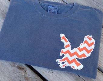 Comfort Colors Long Sleeve T-shirt with Auburn War Eagle Polka Dot or Chevron Appliqué