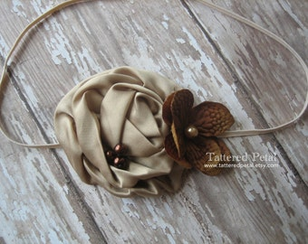 Brown headband, tan headband, beige headband, Fall headband, Thanksgiving headband, baby's thanksgiving