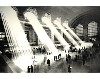 """GRAND CENTRAL TERMINAL New York Train Station Art Poster - in 4 sizes up to 24""""x 36""""- Update of Classic Vintage 1930 Photograph - Print 047"""