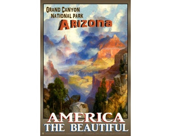 GRAND CANYON -Original New Retro Arizona Travel Poster -available in 3 sizes- Colorado River Valley Mountains Mesas Monadnocks Art Print 094