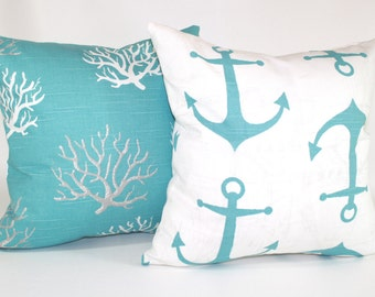 ZIPPER PILLOW COVER Beach pillows, blue pillows, seahorse pillows, starfish pillows, anchors, coral, flamingo, ocean beach pillows