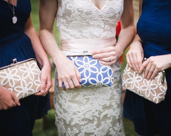 Bridesmaid Gift Clutch Set of 3, Personalized Lace Wedding Clutch Purse with Vintage Style Lace, Mustard Clutch Set, Eight inch Frame
