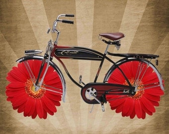 VintagePicture Bicycle Flowers Digital Collage Sheet Download Fabric Illustration Art
