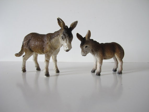 Mules Donkeys Vintage Hand Painted Mule Figurines For