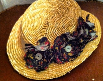 Handmade straw hat fascinator - made to order