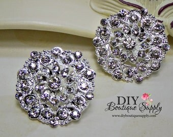 2 pcs Crystal Rhinestone Brooch Embellishment for Brooch Bouquet pins Crystal Wedding Supply Bridal sash pins shoe clips 35mm 631092