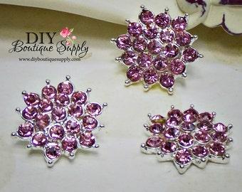 PINK Crystal Button Flat Back Halloween Embellishment Rhinestone Flatbacks - Headband Supplies flower centers Scrapbooking 21mm 633038