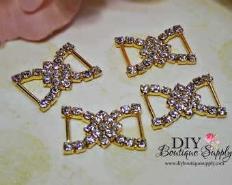 Set of 5 Brilliant Gold Rhinestone Buckles Sliders Crystal Ribbon Sliders Bow Centers Scrapbooking 20mm 690032