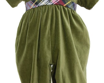 Boys Green Velvet Overalls, belt along the front, accents the overalls made with a plaid material, and piping along the collar 17633