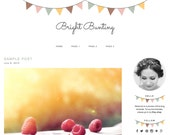 Self-Hosted WordPress Premade Blog Theme (Instant Download) - Blog design - Simple, Feminine, Colorful - Bunting Flags, Garland