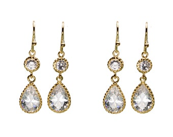 CZ Wedding Earrings, Drop Earrings, Dangle Earrings, Wedding Jewelry, Bride Earrings, Bridesmaid Jewelry, Mother's Day