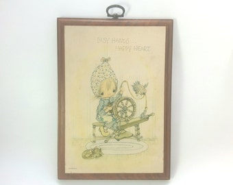 "Vintage Hallmark Wall Hanging "" Busy Hands Happy Heart"""
