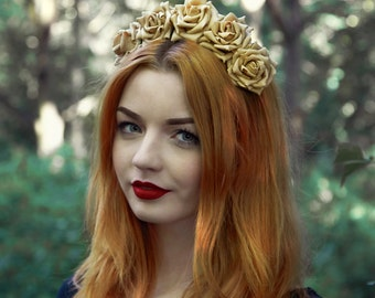 Caramel Rose Flower Crown, White Rose Headband, Beige Flower Crown, Flower Crown, Rose Crown, Flower headband, Rose Headband, Festival Crown