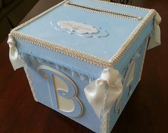 Blue And Cream BABY  Money Card Box / Gift Card Box / Baby Shower Card Box / Baby Keepsake Box