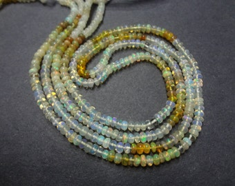 3 mm Ethiopian Opal Shaded Smooth Rondelle Full 14 inch strand AAA+ Quality-Un-beleivable price