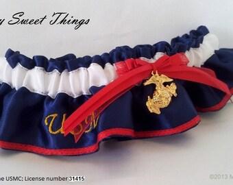 "Marines ""USMC"" Dress Blues Keepsake Garter"