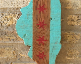 Upcycled State of Illinois Chicago Flag Wooden Wall Art Decor