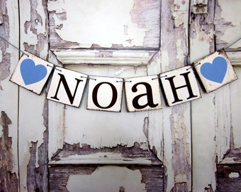 NAME BANNERS,  First Last NAME Signs,  Rustic Baby Shower Decorations, Personalized Signs