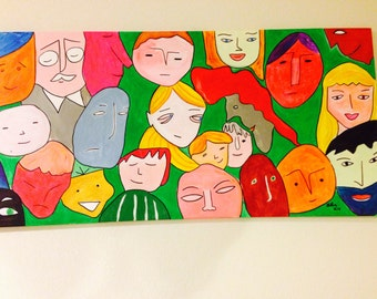 The Crowd, 24in by 48in, Acrylic Painting - SOLD