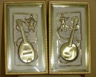 Vintage Banjo and Mandolin Gold Framed Instruments by Metalcraft