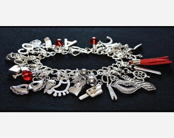 Red Fifty Shades of Grey Charms Bracelet