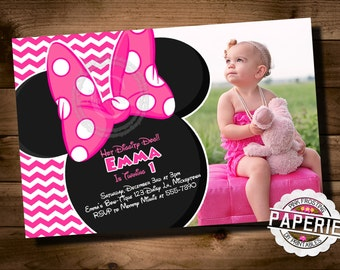 Pink CHEVRON MINNIE MOUSE Birthday Invitation, Minnie Mouse Party Ideas, Minnie Photo Invitation, Pink Frosting Paperie