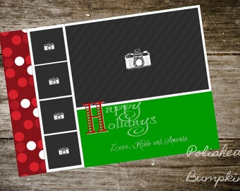 Red & Green Happy Holidays Greeting Cards