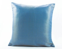 Euro Sham 24x24 Pillow cover, Blue Silk Pillow with gold Dot's Accent.