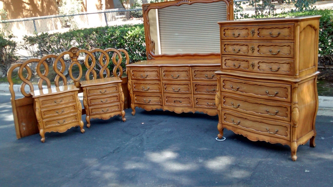 Vintage french provincial bedroom set by by for French provincial bedroom furniture