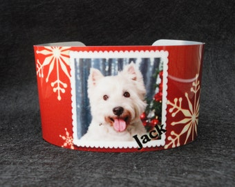 HOLIDAY Photo Cuff Bracelet - Bangle - Custom - Dog - Cat - Grandchildren - Sister - Teacher - Best Friend - Mother