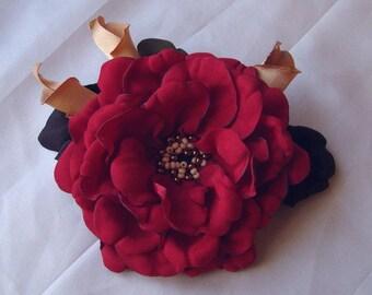 Handmade red satin flower brooch, flower clip & pin, red rose